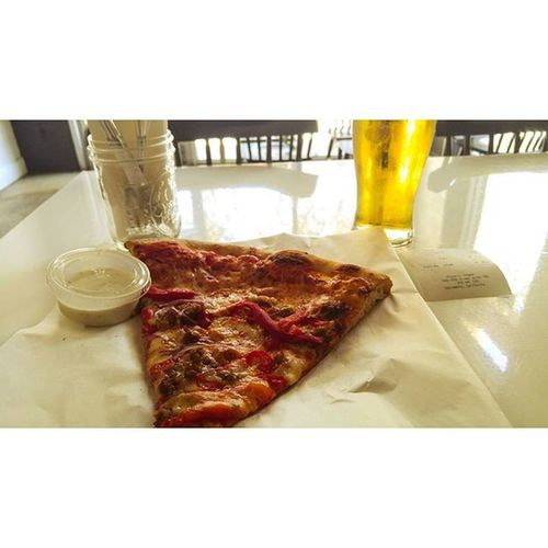 Finishing a fun filled weekend with a free slice and glass of stella at Pizzeriaurbano Salsiccia Bytheslice Stella SundayFunday Fallbikerides Pizzaislife