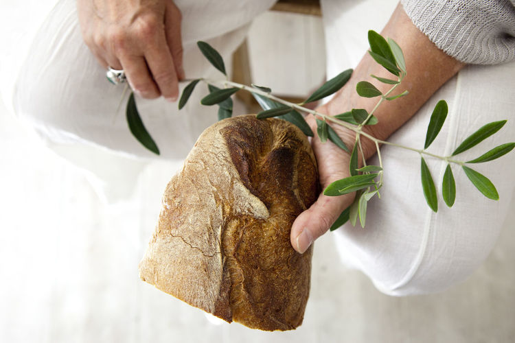 Close-up of man holding plant and bread