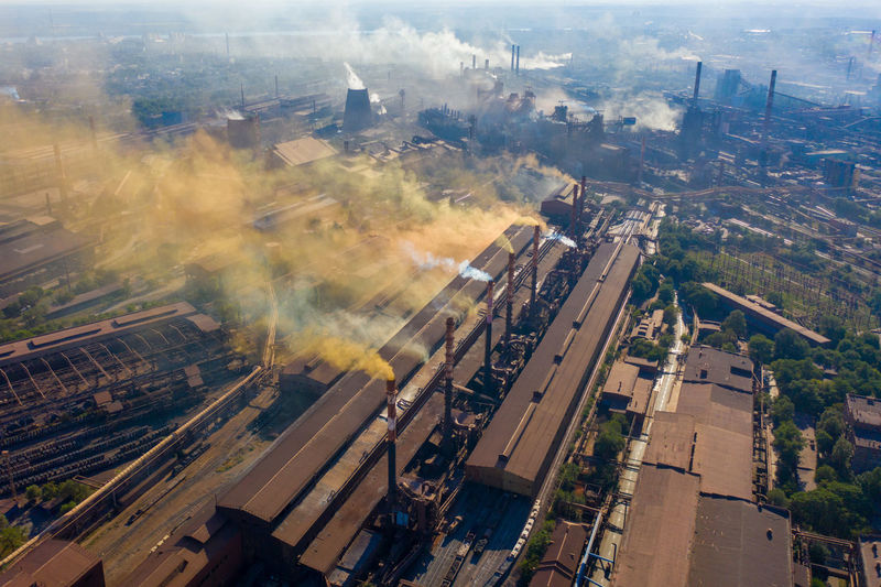 Factories smoke toxic substances into the atmosphere