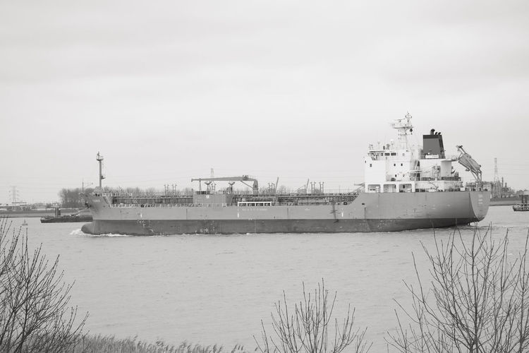 Doel, Antwerp, Belgium – February 2019: Large cargo ship leaving the Antwerp harbor heading for the open sea in black and white Water Nautical Vessel Transportation Ship Sky Mode Of Transportation Nature Freight Transportation Day No People Shipping  Sea Container Ship Business Outdoors Architecture Building Exterior Industry Waterfront Passenger Craft Cruise Ship