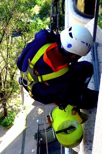 A Bird's Eye View Window Cleaner Window Cleaning Risktaker Risky Job Neon Safety First! Safety Gear