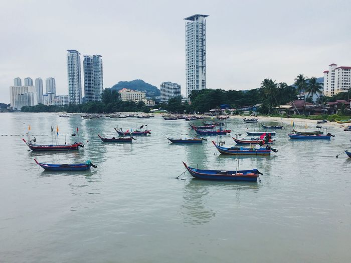 Fisherman boats #penang #georgetown #travel Travel Destinations Penang Malaysia Nautical Vessel Water Mode Of Transportation Transportation Sky Built Structure Waterfront First Eyeem Photo My Best Photo