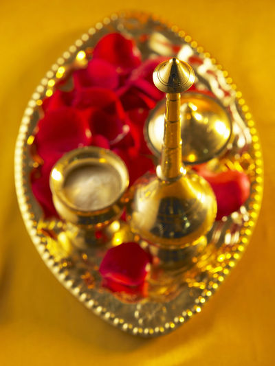 holly water Container Diwali Holly Indian Culture  Rose Petals Spirituality Tradition Believe Deepavali  Gold Colored Golden Tray Holly Water Luxury Offering Praying Traditional Water