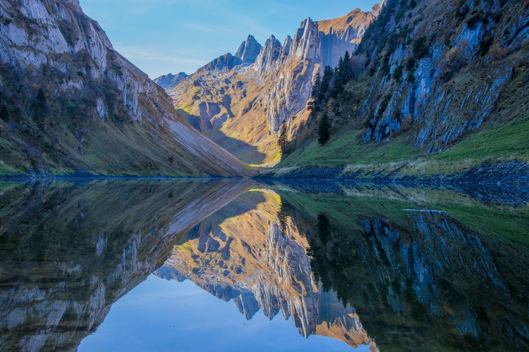 Reflection Of Mountains In Fälensee Lake