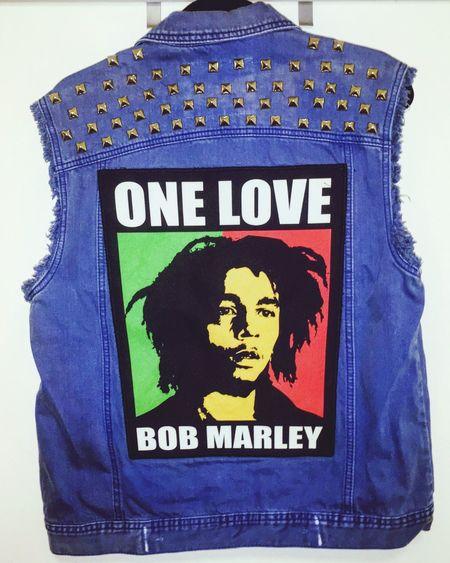 One Love DIY Battle Vest One Love Bob Marley Denim Vest Vest Blue Close-up Clothing Art And Craft