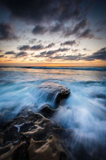What happens when the unstoppable force meets the immoveable object? They surrender. Long Exposure Water Ocean Ocean View Waves, Ocean, Nature Sunset Flow  San Diego California Pacific Ocean
