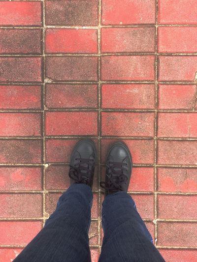 Black Color Brickpathways Bricks Lifestyles One Person Outdoors Pavement Personal Perspective Red Shoes Shoeselfie Standing