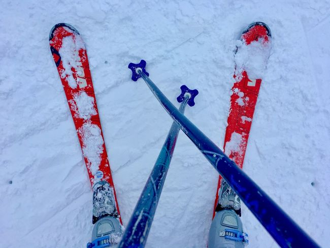 Skiing Blue Cold Temperature Covering Day Field Frozen High Angle View Land Mountain Nature Outdoors Red Ski Skiing Snow Sport White Color Winter Winter Sport