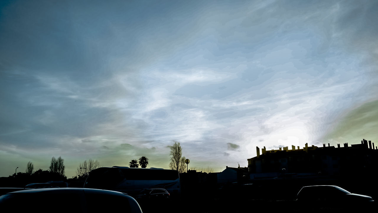 sky, cloud - sky, building exterior, built structure, architecture, car, no people, outdoors, nature, land vehicle, tree, beauty in nature, sunset, day, city