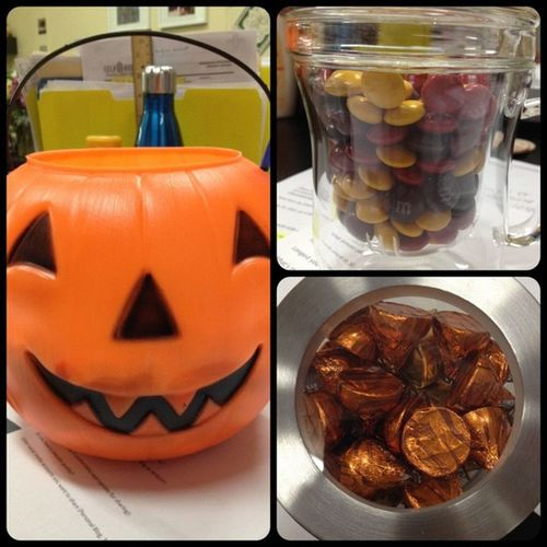 It's #October which means #fall and #Halloween festivity! Jack-o-Lantern pail full o' candy, Autumn colored M&M's, and Pumpkin Spice Kisses. #ilovetheholidays Fall Halloween October Ilovetheholidays