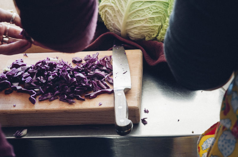 Chopped red cabbage on cutting board