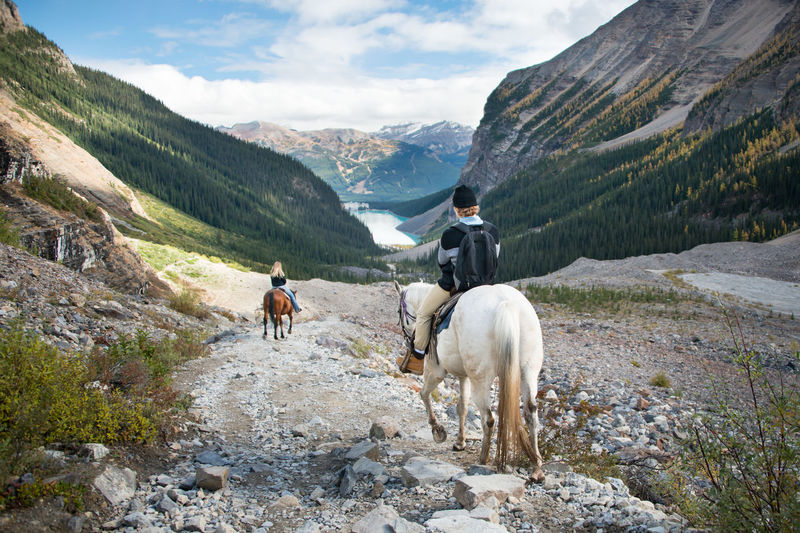 Rear view of people riding horses on mountains