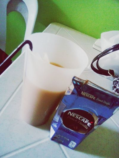 High Angle View Indoors  Table Drink Coffee Icedcoffee Nescafe Frenchvanilla