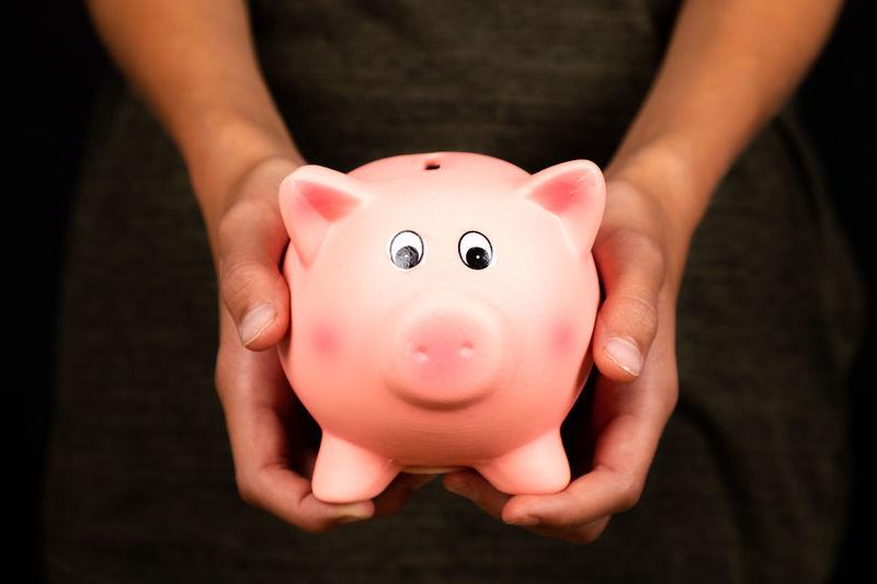 Close-up of woman hands holding piggy bank