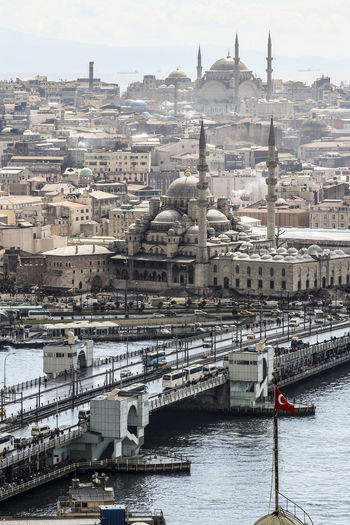 Galata bridge over sea by new mosque and city