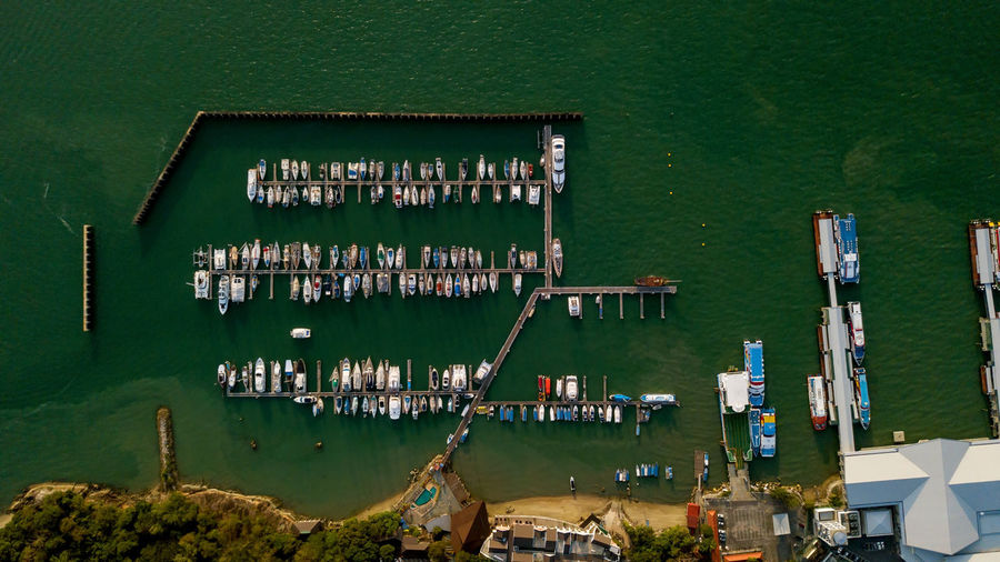 High Angle View Of Boats At Harbor