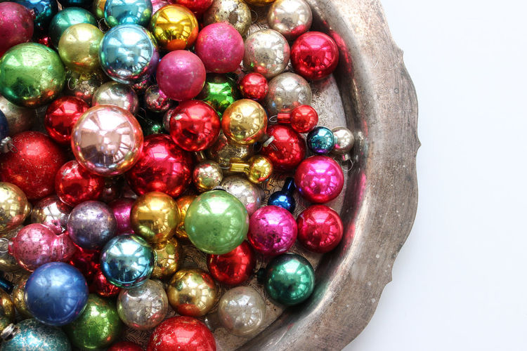 Piles of baubles Background Baubles Beautiful Bright Christmas Christmas Ornaments Colorful Decorations Frame Holidays Over Head Rainbow Colors Retro Silver Platter Silver Tray Vintage Ornaments