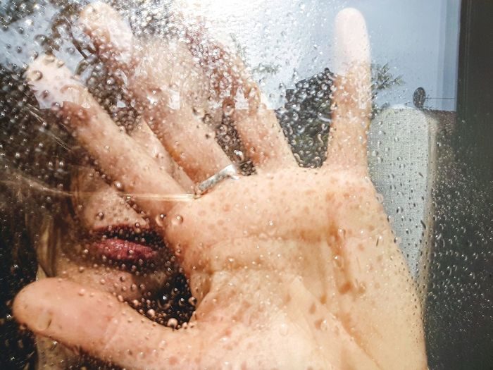 hand Light And Shadow Woman Portrait Personal Perspective Hand Water Rain Sun Sunlight Part Of Body Water Beautiful People Young Women Shirtless Beauty Portrait Wet Drop Close-up Transparent Glass - Material Rainy Season Window Sill Skylight Windshield Wiper RainDrop