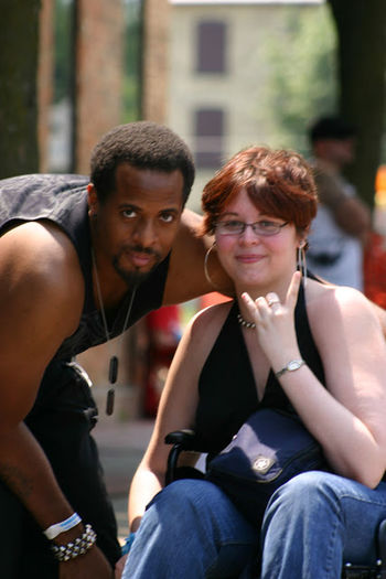 Music Brings Us Together altered skin revolution in flint mi a few years ago. I was there just to people watch and these 2 caught my attention People Watching Rural Scene Rock Concert Wheelchair Blackandwhite Interacial Happy People Cheesin Love Sign Language