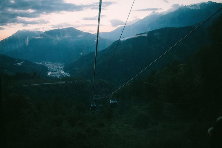 Perspectives On Nature Mountain Beauty In Nature Scenics - Nature Cable Car Landscape Nature Overhead Cable Car Transportation Mode Of Transportation Environment Cable Sky Tranquil Scene No People Mountain Range Outdoors Non-urban Scene Tranquility Day Cloud - Sky Russia Sochi
