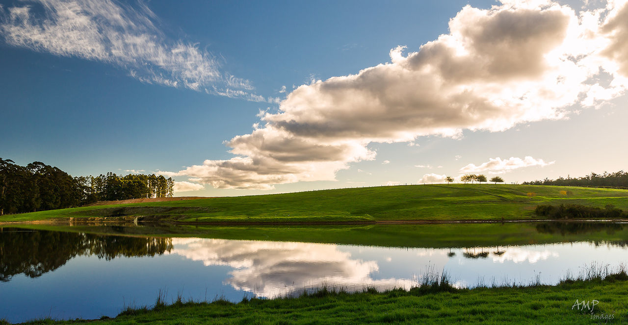 tranquil scene, beauty in nature, sky, tranquility, nature, scenics, cloud - sky, water, no people, lake, idyllic, reflection, green color, outdoors, day, waterfront, landscape, growth, rural scene, grass, tree