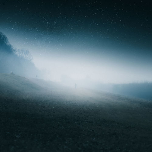 Campagna intorno Verona Astronomy Beauty In Nature Fog Full Length Galaxy Landscape Men Nature Night One Person Outdoors People Real People Scenics Sky Star - Space Starry Tranquil Scene Tranquility