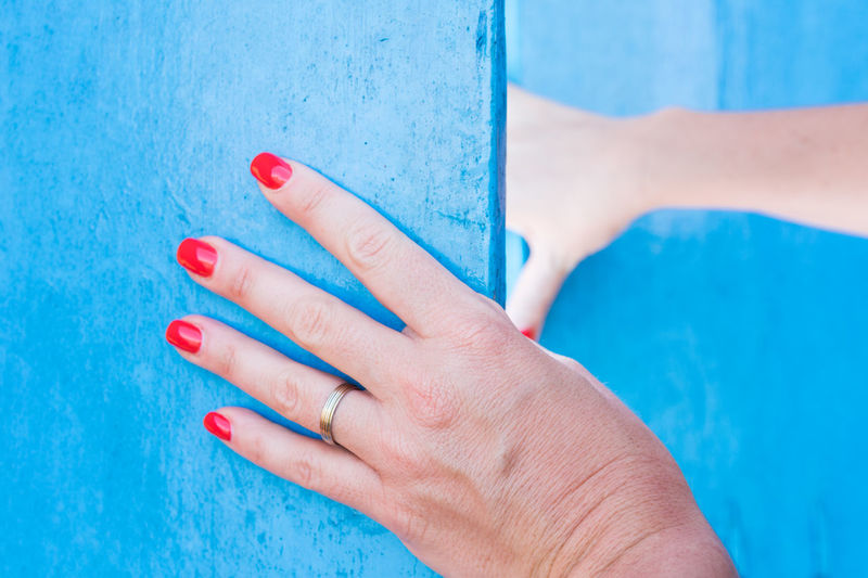 Blue door Blue Colour Door Opening Door Blue Door Entrance Gate Opening Day Trough The Door Colourful Contrasting Colors Textures and Surfaces People Woman Lifestyle person Human Hand Nail Polish Painting Fingernails Blue Manicure Red Close-up Nail Art Fingernail Turquoise Colored Paint Skin Painted Pedicure Nail Ring