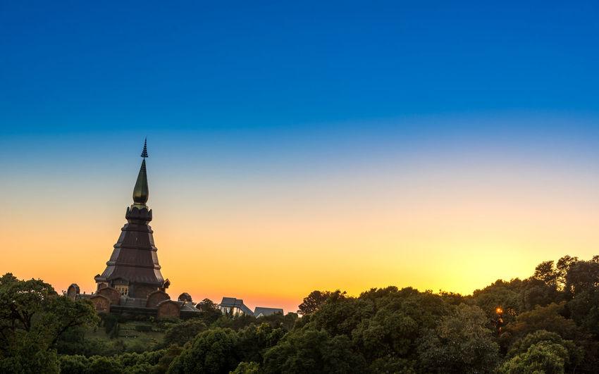 Pagoda on mountain against clear sky at doi inthanon national park