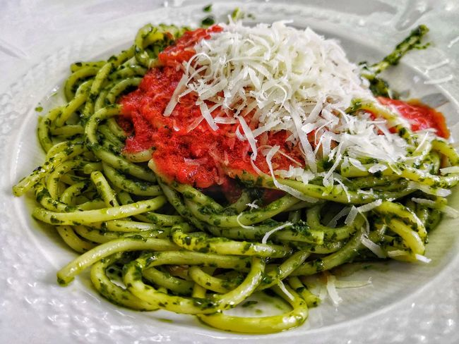 Flower Red High Angle View Flower Head Close-up Green Color Food And Drink Pasta Spaghetti Green