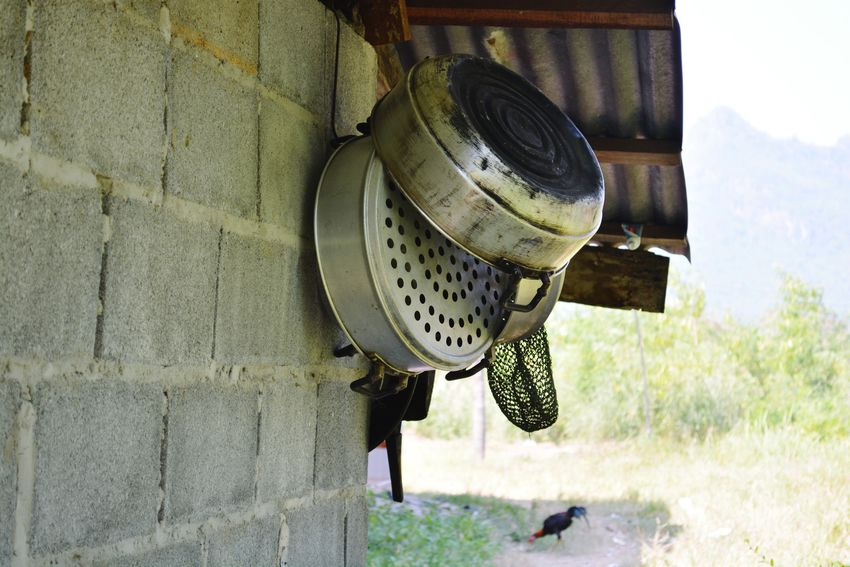 Hanging Old-fashioned Retro Styled No People Indoors  Close-up Black Pot Kitchen Kitchenware