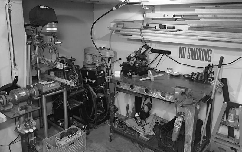 My Favorite Place Workshop Metalwork Tools Workbench Welding Table Welder Plasma Cutter Drill Press Grinder Press Visé Bandsaw Fabrication Shop Machinery Industrial