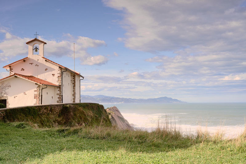 San Telmo, Zumaia. Zumaia Architecture Beauty In Nature Building Exterior Built Structure Church Architecture Cloud - Sky Day Grass Nature No People Outdoors Scenics Sea Sky Tranquility Water