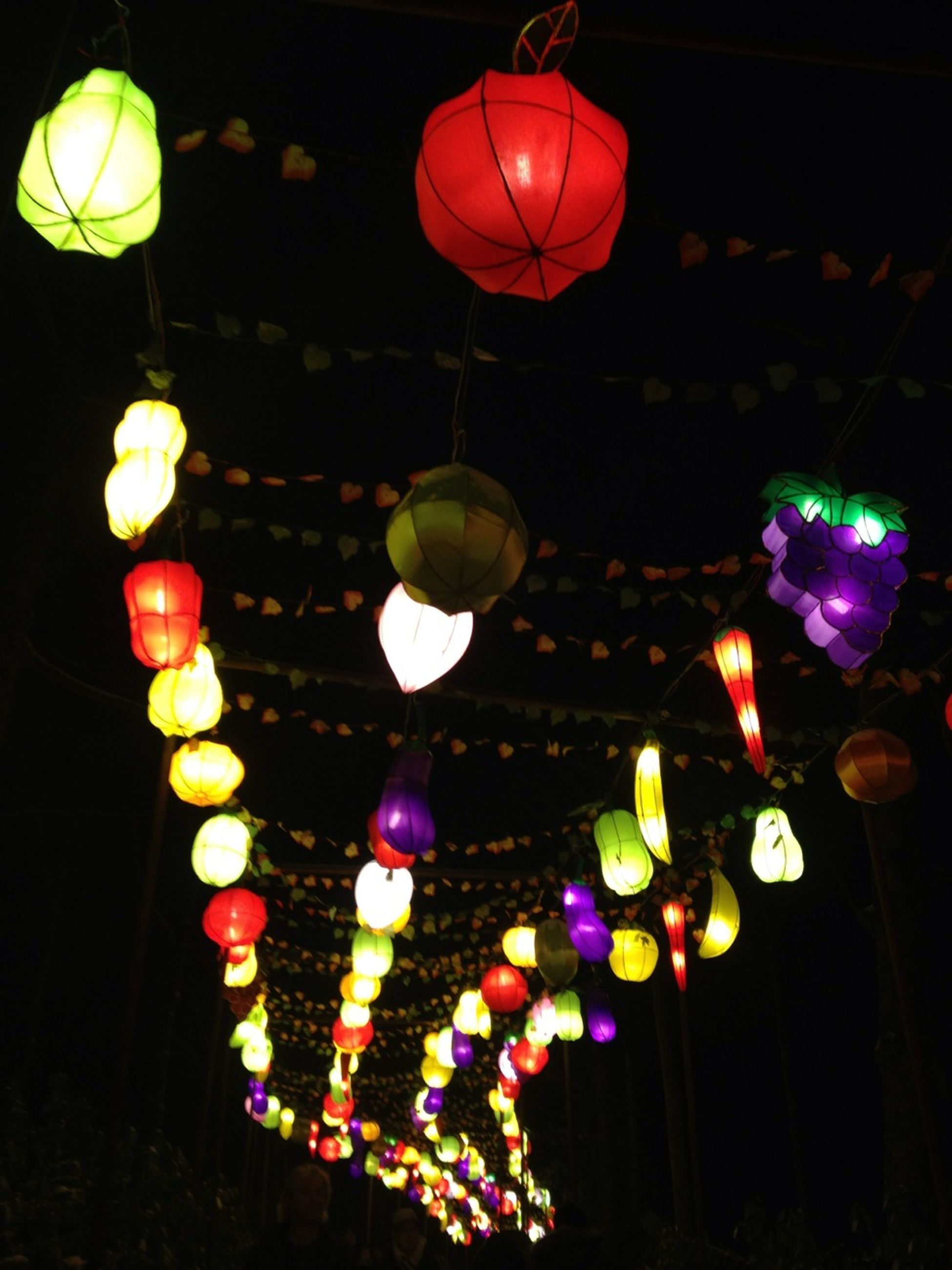 illuminated, lighting equipment, hanging, decoration, night, low angle view, lantern, electricity, celebration, multi colored, electric light, chinese lantern, in a row, electric lamp, light - natural phenomenon, cultures, ceiling, light, indoors, glowing