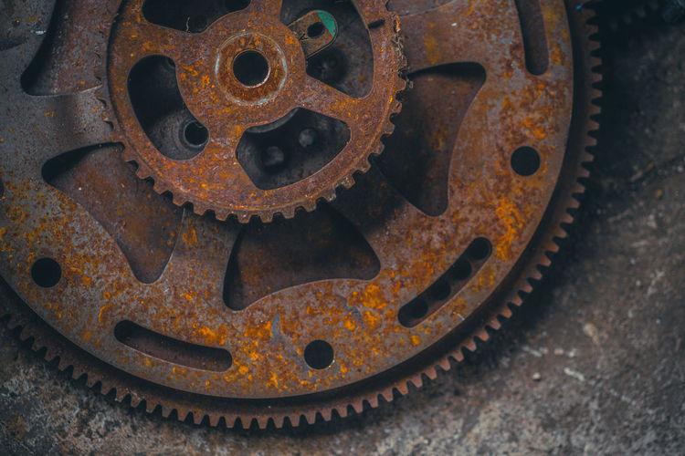 Close-up of rusty machine part