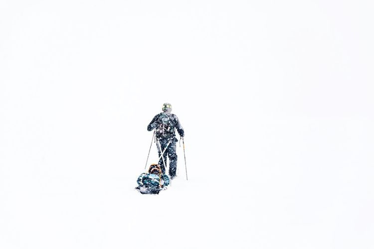 Blizzard Skiing Extreme Weather Copy Space White Background Clear Sky No People Indoors  Sky