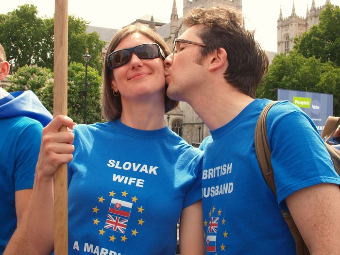 March For The Peoples vote. Whitehall. London. 23/06/2018 Whitehall London News Europe Government Remainers Remain Brexit British Politics Brexit Protest Politics And Government Protest London Steve Merrick Stevesevilempire Protesters London News Two People Men Sunglasses Togetherness Casual Clothing Adult Young Men