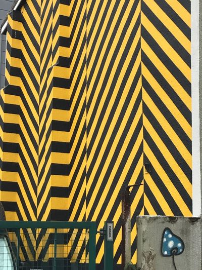 Fac 51 Hacienda Yellow Pattern Architecture Day No People Outdoors Shadow Built Structure City EyeEm Vision EyeEm Gallery EyeEm Manchester UK One Of Manchesters Finiest Clubbing City Art Is Everywhere