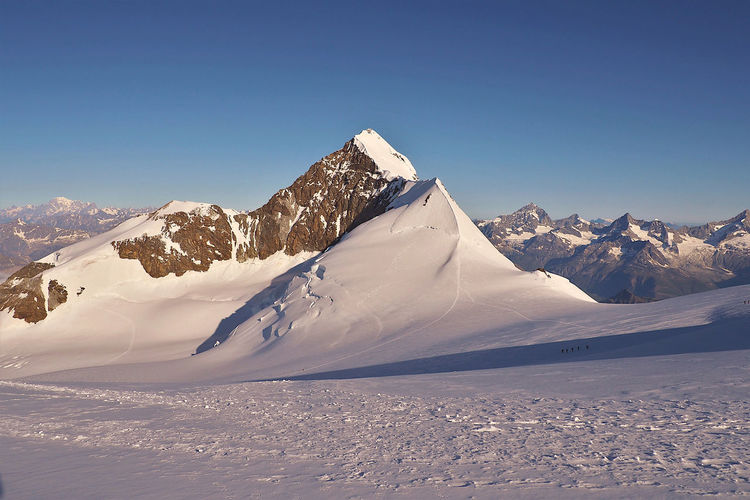 Scenic view of snowcapped mountains against clear sky, eastern lyskamm summit in monte rosa chain.