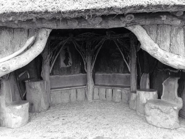 Thatched Roof Wood Wooden House Hut Hobbit Handbuilt Garden Witches
