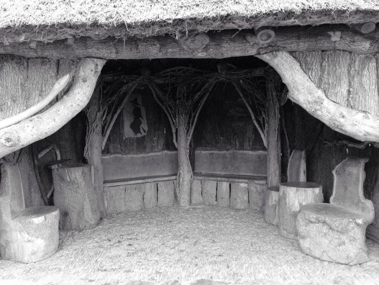 Thatched Roof Wood Wooden House Hut Hobbit Handbuilt Garden Witches