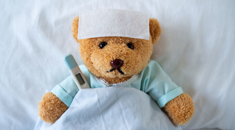 High angle view of teddy bear with thermometer on bed