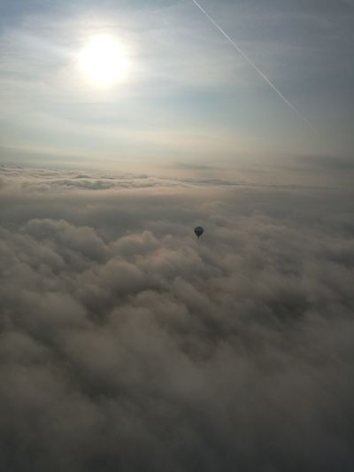 Sunrise Peaceful Peace And Quiet Airballon Aerostat Aerostatic Ballon Sky And Clouds View From Above AirBalloon Cloud - Sky Sky Flying Air Vehicle Transportation Cloudscape Nature Aerial View Hot Air Balloon Scenics - Nature Mid-air No People Environment Balloon Beauty In Nature Travel Tranquility Tranquil Scene Landscape Sun