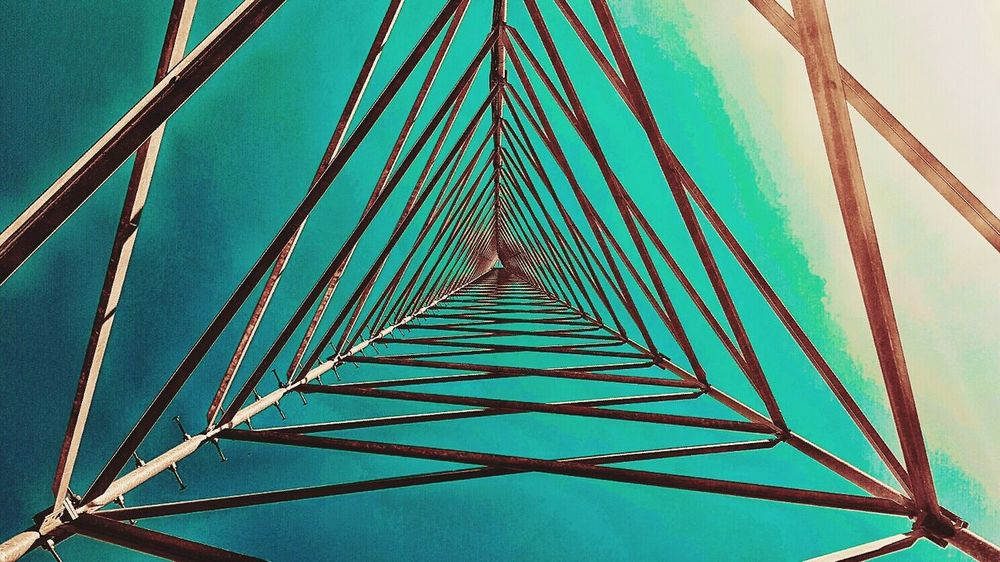 Depth to Color Edit. Deep Tunnel Vision Radio Radiotower Multi Colored Blue Low Angle View Geometric Shape Diminishing Perspective Vibrant Color