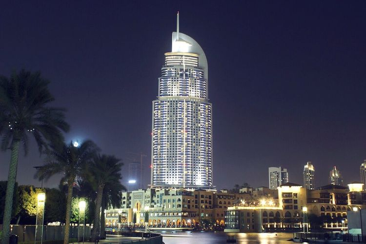 The Addres Downtown Hotel Dubai UAE , Dubai Dubai❤ UAE Hotel The Address Hotel Luxury Five Stars City Cityscapes Nightphotography Night Lights Skyscrapers Downtown Dubai Check This Out Traveling Travel Photography ASIA Cities At Night