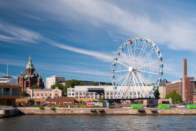 View of Helsinki harbor with Uspensky orthodox cathedral and a skywheel during a summer afternoon Architecture Baltic Baltic Sea Cathedral Church City Cityscape Finland Harbor Helsinki Orthodox Church Pier Skyline Skywheel Sunny Uspenski Cathedral Building Exterior Europe Landmark Outdoors Sea Sky Summer Urban Waterfront