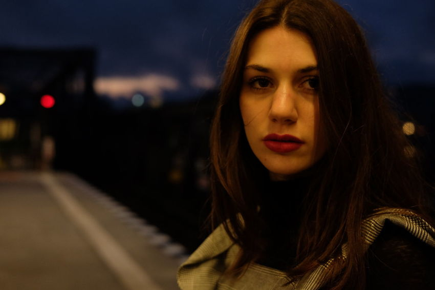 Adult Beautiful Woman Close-up Focus On Foreground Front View Headshot Illuminated Looking At Camera Night One Person One Young Woman Only Outdoors People Portrait Sky Transportation Young Adult Young Women Colour Your Horizn
