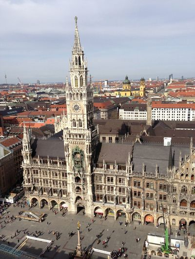 Architecture Built Structure Building Exterior Travel Destinations Sky City Outdoors Tourism High Angle View Day Cityscape History Travel Cloud - Sky Large Group Of People People Marienplatz Skyline