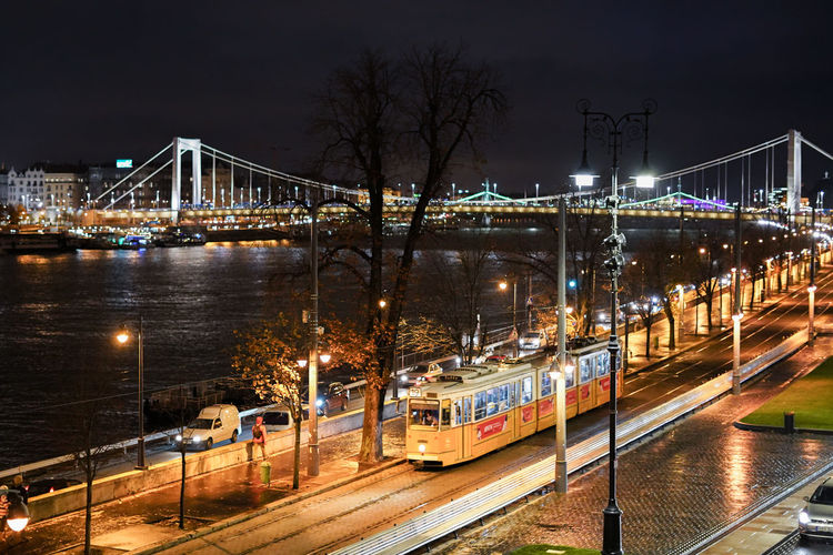 Illuminated Transportation Night Architecture Bridge Connection Built Structure City Mode Of Transportation Bridge - Man Made Structure Public Transportation Building Exterior Water River Rail Transportation Bare Tree No People Nature Train Outdoors Budapest Tramway Chain Bridge