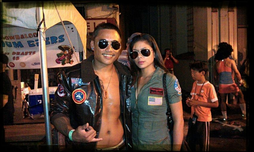Maverick n Charlie holding it down in Chinatown...Halloween! Nightlife Partying Till Sunrise Halloween Hawaii Costume Topgun Party