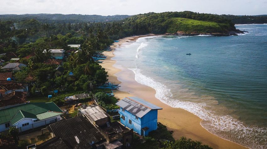 Coastline of Sri Lanka. Dji Sri Lanka Water Tree High Angle View Plant Sea Nature Beach Land Day No People Architecture Built Structure Building Exterior Outdoors Beauty In Nature Aerial View Scenics - Nature Tranquility Sunlight